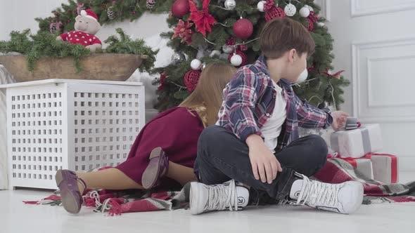 Thumbnail for Porträt von kaukasischen Kindern nehmen Gegenwart unter Weihnachtsbaum, Drehen zu Kamera und Lächeln