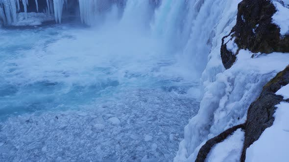 Thumbnail for Iceland View Of Ice Chunks At The Beautiful Godafoss Waterfall In Winter 1