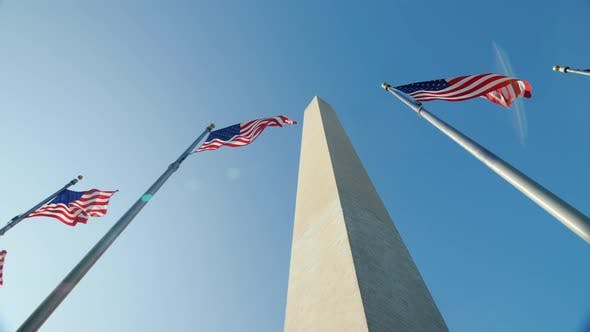 Thumbnail for Pan Shot: American Flags and the Washington Monument