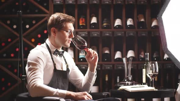 Thumbnail for Wine Expert Holds a Glass of Wine, Looks at Tint and Smells Flavor, Degustating