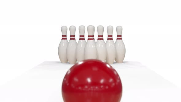 Thumbnail for Bowling Strike in Slow Motion on White Background