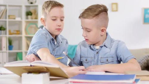 Identical Twins Studying at Home