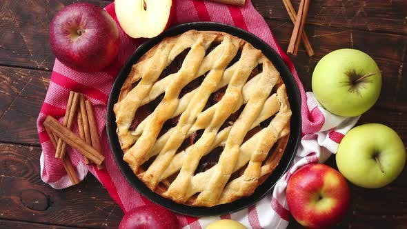 Traditional American Apple Pie Served with Fresh Fruits