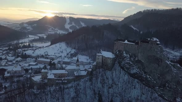 Thumbnail for Aerial Sunset over Historic Castle