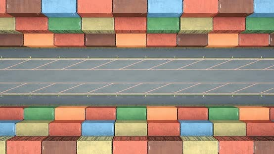 Thumbnail for Drone View of Stacked Cargo Shipping Containers at Transportation Sea Port