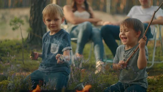 Thumbnail for Children Sit By the Fire and Look at the Fire Playing with Sticks