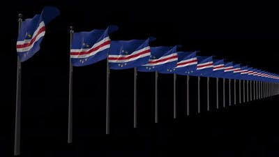 Row Of Cape Verde Flag  Flags With Alpha 4K