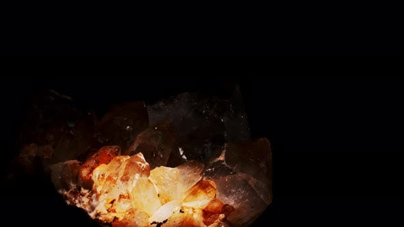 Thumbnail for Close Up of Quartz Crystals in a Vug, or Cave with Over Head Lighting Abstract Composition of