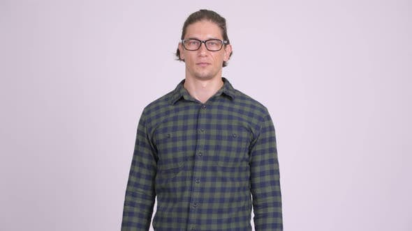 Thumbnail for Happy Hipster Man Smiling While Wearing Eyeglasses