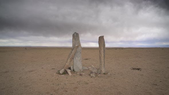 Deer Stone Stele in the Central Asian Steppes