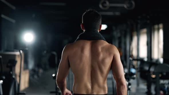 Back View of a Serious Sportive Man