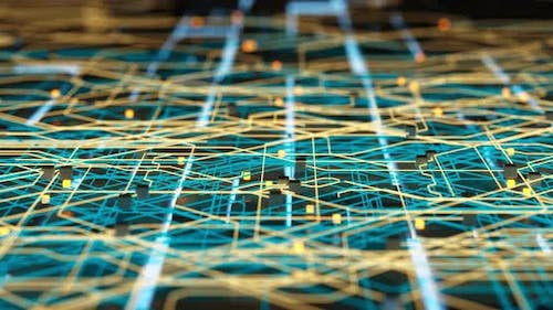 Circuit board and current data, data background.