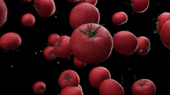 Thumbnail for Falling Tomatoes with Water Drops