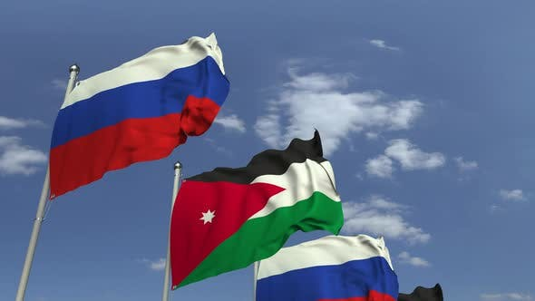 Thumbnail for Flags of Jordan and Russia on Sky Background