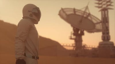 Astronaut Wearing Space Suit on the Surface of Mars