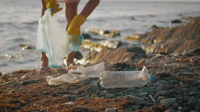 Volunteer Girl Collects Trash in the Trash Bag. Plastic Bottles and Other Trash on Sea Beach