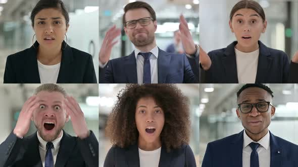 Collage of Young Business People Reacting to Loss