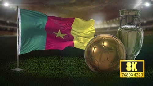 8K Cameroon Flag with Football And Cup Background Loop