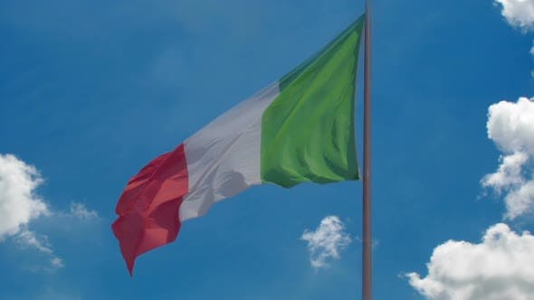 Thumbnail for Italian Flag Flying Against Blue Sky Background, Country's National Symbol