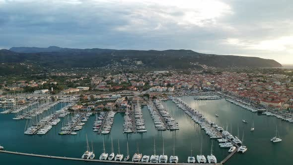 Thumbnail for Sailboats in the Marina and the City of Lefkada Island, Greece