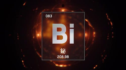 Bismuth as Element 83 of the Periodic Table on Orange Background in Chinese Language