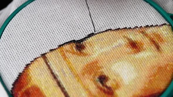 Thumbnail for Part of Working Process on a Piece of Beautiful Embroidery, Close Up, Slow Motion