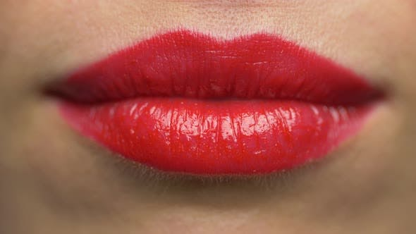 Thumbnail for Woman Lips with Red Lipstick Making Kiss 31
