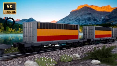 Train and Containers with Germany Flag