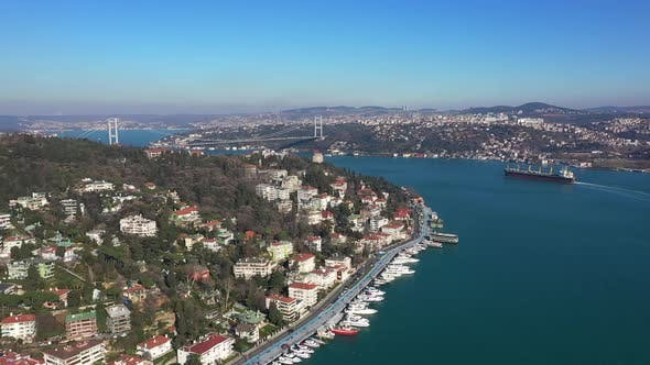 Thumbnail for Istanbul Bebek Bosphorus Bridge Cargo Ship Aerial View