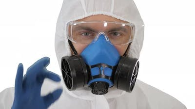 Doctor in Protective Clothing Showing OK Everything Will Be OK on White Background