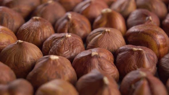Hazelnut kernels. Macro. Rotating