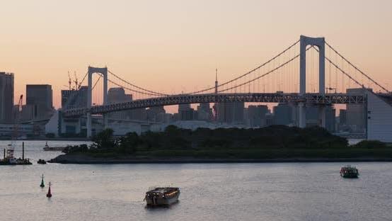 Thumbnail for Tokyo, Odaiba Stadt Landschaft in der Sonnenuntergang Zeit