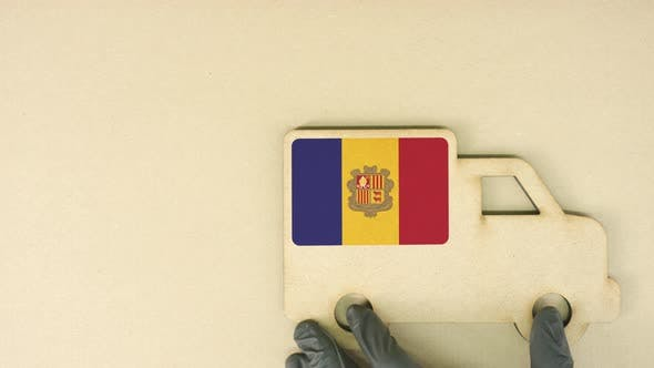Thumbnail for Recycled Cardboad Truck Icon with Flag of Andorra. National Sustainable Transportation or Delivery