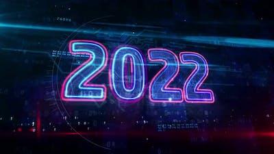 2022 year abstract modern light neon