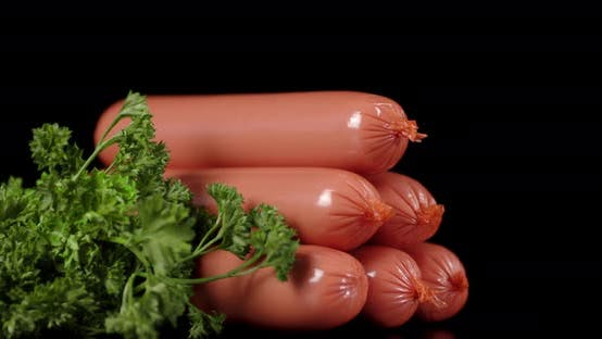 Boiled Sausages with Herbs Slowly Rotate