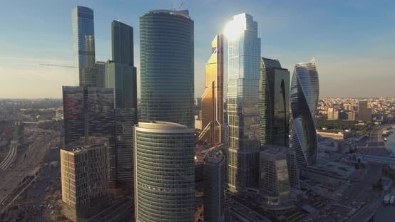 Thumbnail for Aerial View of Moscow International Business Center at Sunrise When Sun Is Behind Clouds