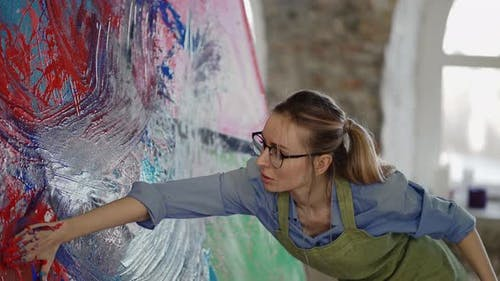Contemporary Painter Creating Abstract Modern Art Using Hands