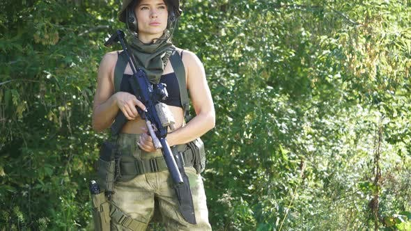 Attractive Female Military Posing in a Military Uniform