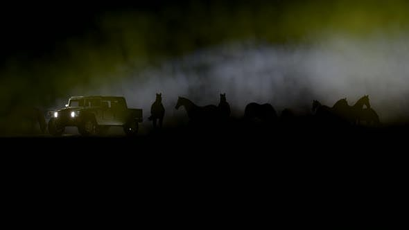 Thumbnail for Horse Herd and Off-Road Vehicle Against Foggy Background