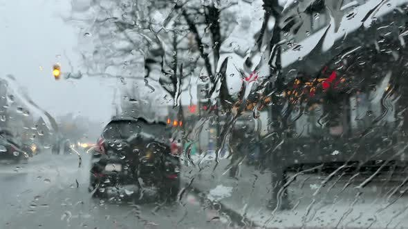 Thumbnail for Snowstorm Street - Car Windshield - Road and Sidewalk