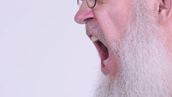 Thumbnail for Profile View of Face of Angry Mature Bald Bearded Man Shouting and Screaming