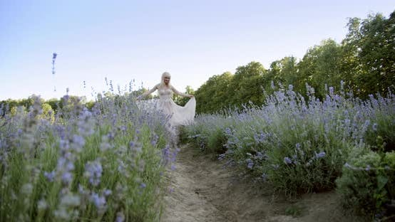 Thumbnail for Cinematic View of Woman Dancing Colorful Lavender Fields on a Sunny Day Blooming Purple Flowers.