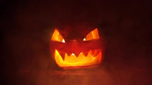 Scary Halloween Pumpkin in the Dark