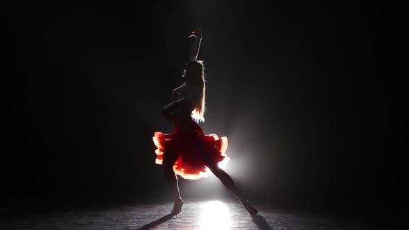 Thumbnail for Professional Dancer in Beautiful Dress in the Studio on a Dark Background, with White Backlight, a