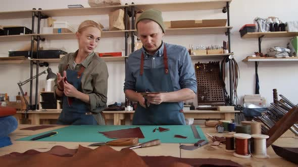 Thumbnail for Two Colleagues in Leather Workshop
