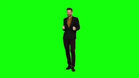 Thumbnail for Guy Is Happy with His Victories, He Is Happy. Green Screen