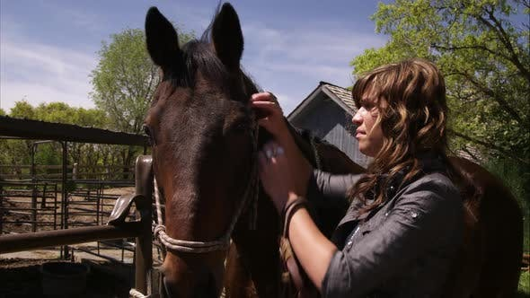 A static shot of a woman adjusting a horses bridle.