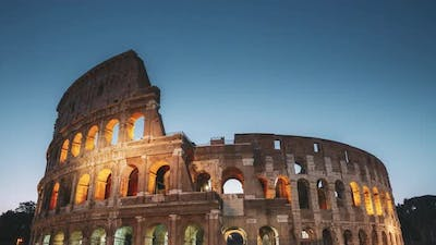 Rome, Italy. Colosseum At Morning Dusk