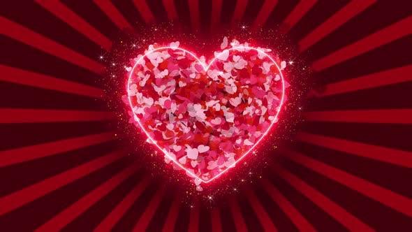 Hearts Rays 4k