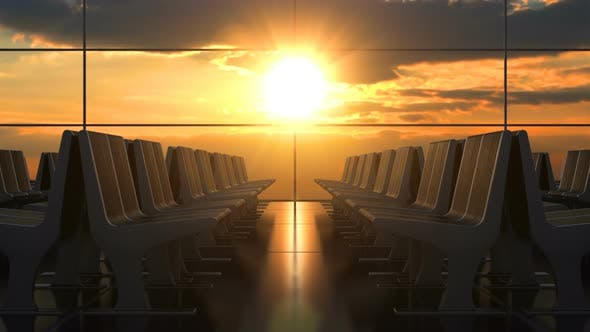 Thumbnail for Empty Airport Departure Hall against Scenic Sunset